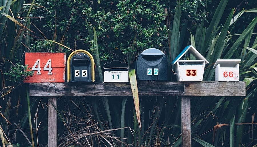 6 letterbox in a row with repeating numbers