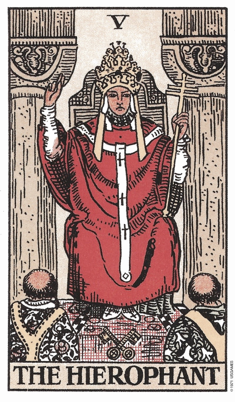 Hierophant Tarot Birth Card from the Rider-Waite Tarot Deck