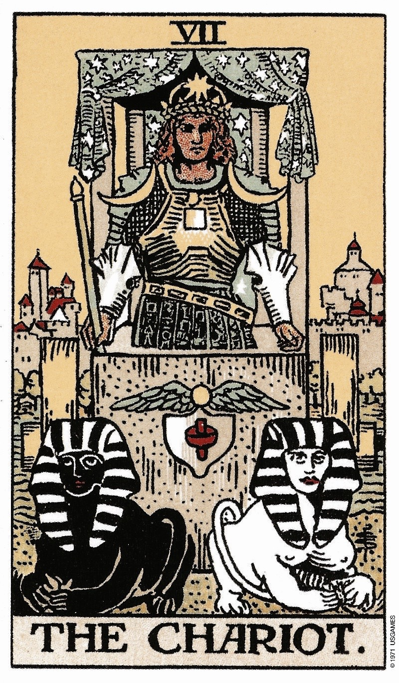 The Chariot Tarot Card from the Rider-Waite Tarot Deck