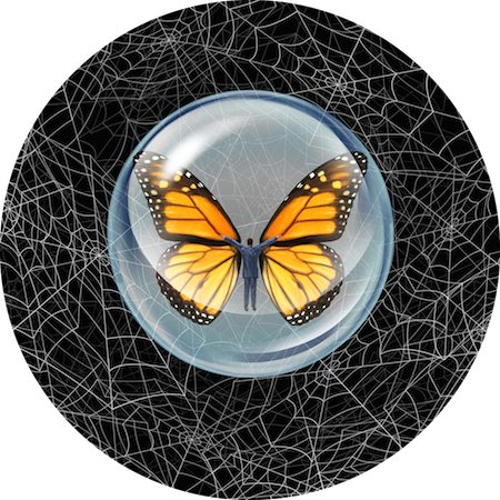 Shelter from risk and crisis business concept as a person in a protective bubble with butterfly wings flying through a chaos of spider webs overcoming career traps and avoiding financial adversity.