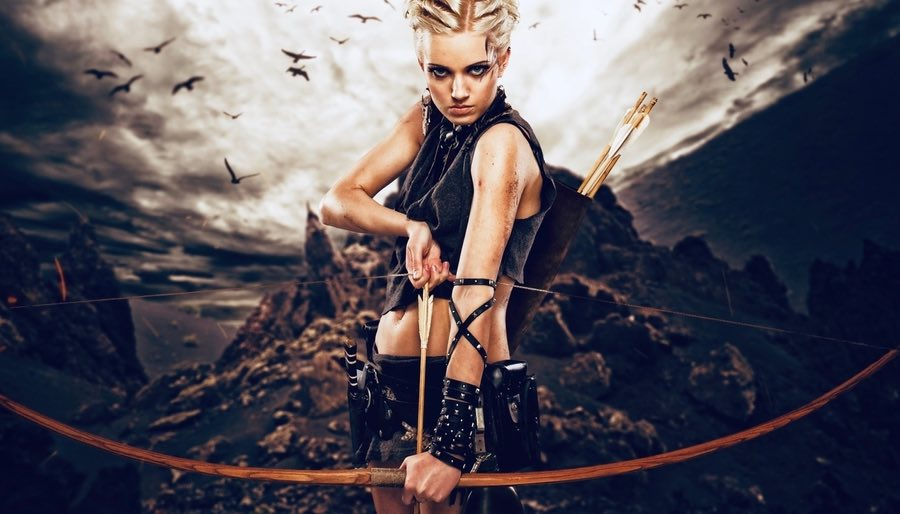 Female Archer Artemis with Epic Background