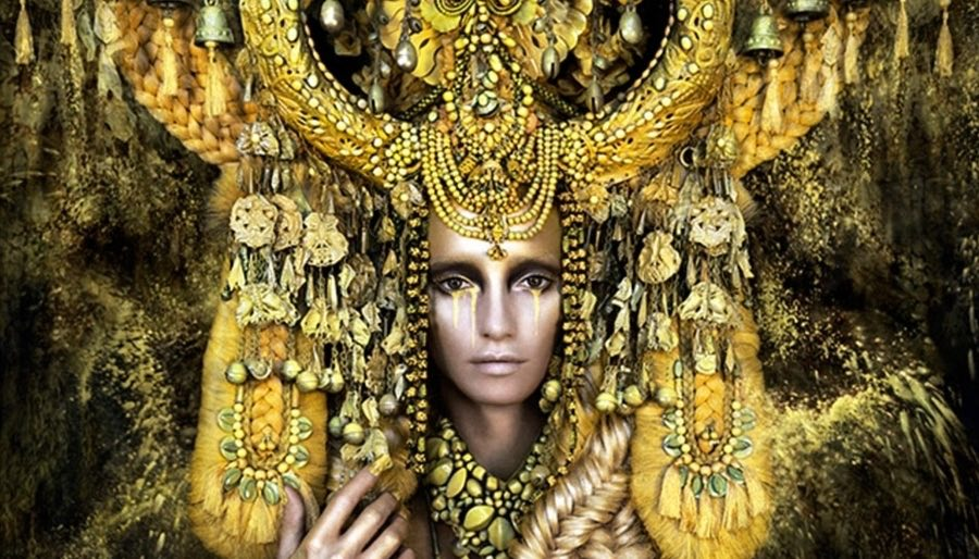 GOlden Goddess with huge Headress