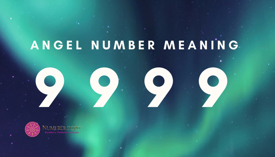 Angel Number 9999 on blue turquoise galaxy background