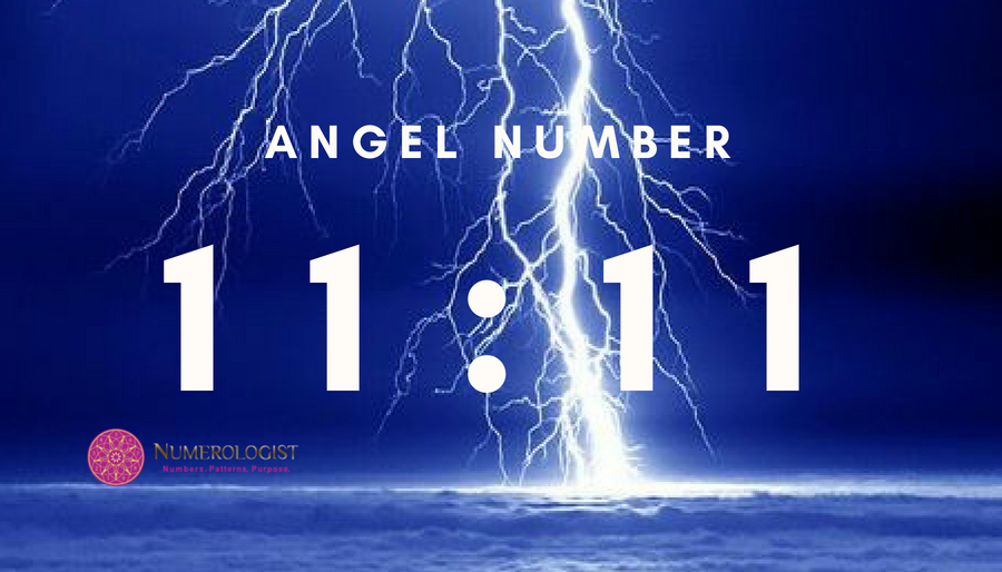 Angel Number 11:11 on Lightning Sky