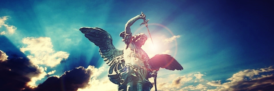 Atarue of Archangel Michael with Sword and Dramatic Sky