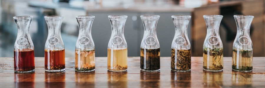 Sun Tea Infusions in Glass Bottles