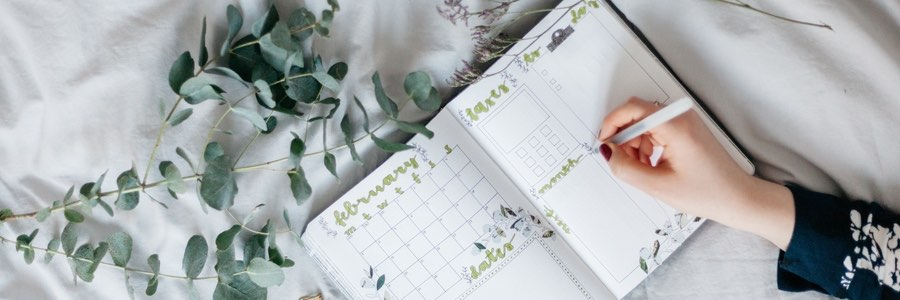 Diary, Planner, Journal with leaves