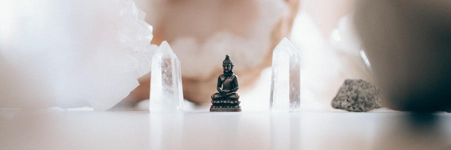 Tiny Buddha Statue and Crystals