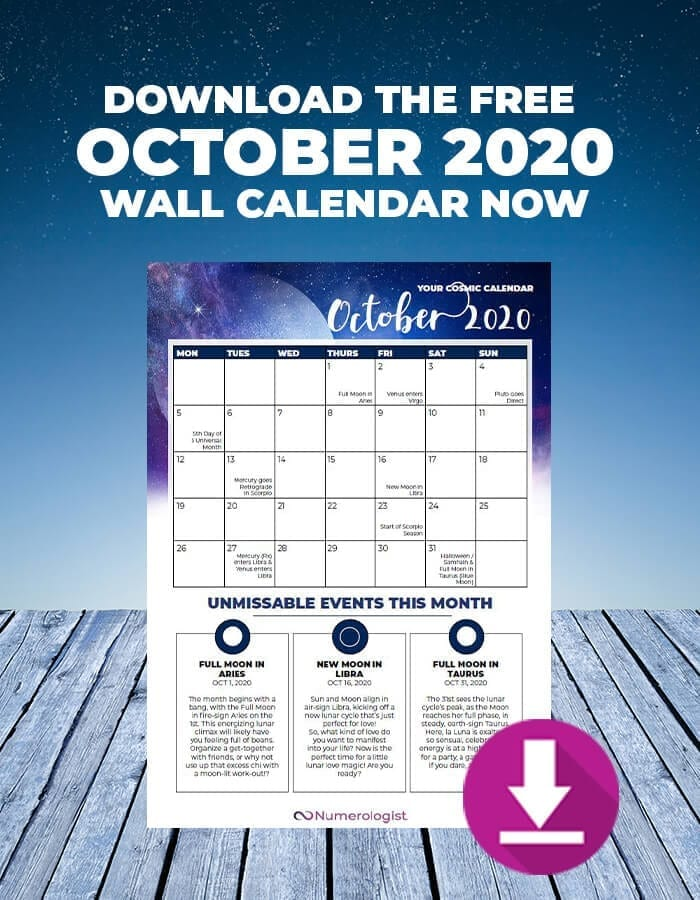 Download Your Free Printable October 2020 Cosmic Wall Calendar Numerologist Com